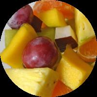 Fruta envasada: uva, piña, mango, mandarina