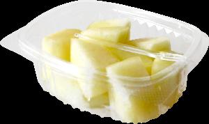 Tarrina cuadrada de 90 a 120 g, contiene melón troceado o cualquier otro tipo de fruta o combinación variada.