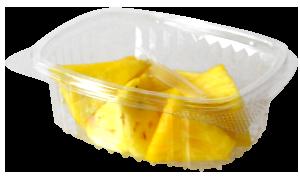 Tarrina cuadrada de 90 a 120 g, contiene piña troceada o cualquier otro tipo de fruta o combinación variada.