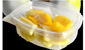 Tarrina cuadrada de 90 a 120 g, contiene manzana y mango troceados o cualquier otro tipo de fruta o combinación variada.
