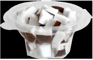 Tarrina redonda de 120 g, contiene coco troceado o cualquier otro tipo de fruta o combinación variada.