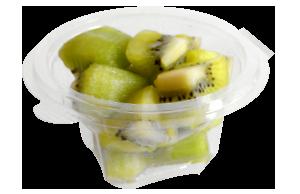 Tarrina redonda de 120 g, contiene kiwi troceado o cualquier otro tipo de fruta o combinación variada.