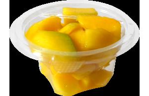 Tarrina redonda de 120 g, contiene mango troceado o cualquier otro tipo de fruta o combinación variada.