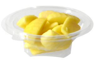 Tarrina redonda de 175 g, contiene manzana troceada o cualquier otro tipo de fruta o combinación variada.