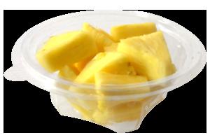 Tarrina redonda de 175 g, contiene piña troceada o cualquier otro tipo de fruta o combinación variada.