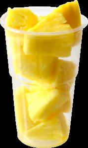 Vasos con tapa de 120 a 175 g, contiene piña troceada o cualquier otro tipo de fruta o combinación variada.